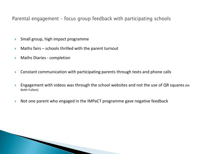 Parental engagement – focus group feedback with participating schools