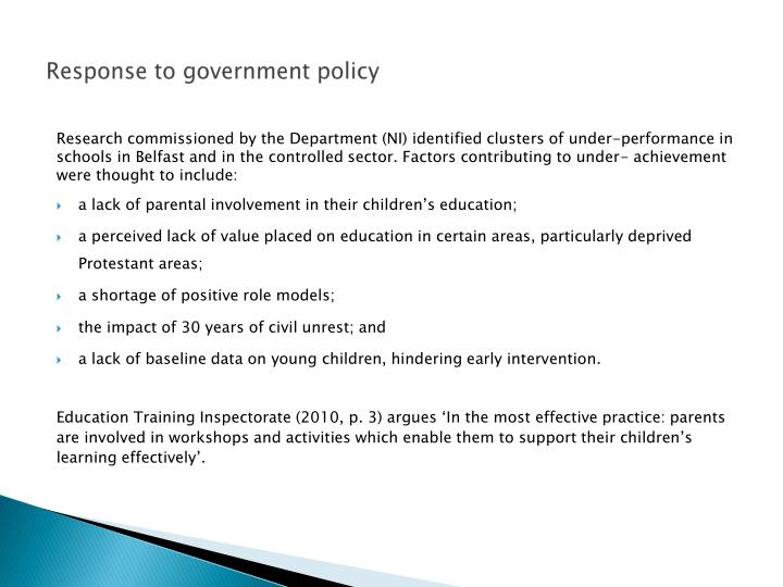 Response to government policy