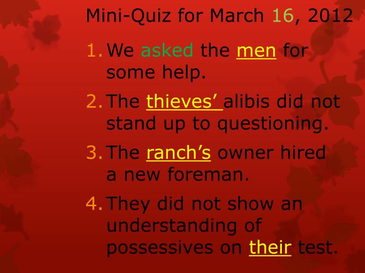 Mini-Quiz for March