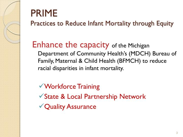 Prime practices to reduce infant mortality through equity