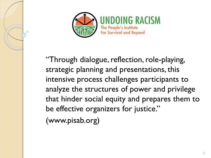 """Through dialogue, reflection, role-playing, strategic planning and presentations, this intensive process challenges participants to analyze the structures of power and privilege that hinder social equity and prepares them to be effective organizers for justice."""