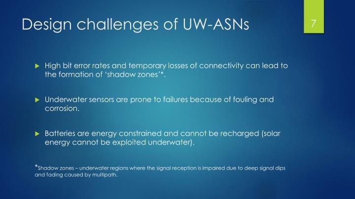 Design challenges of UW-ASNs