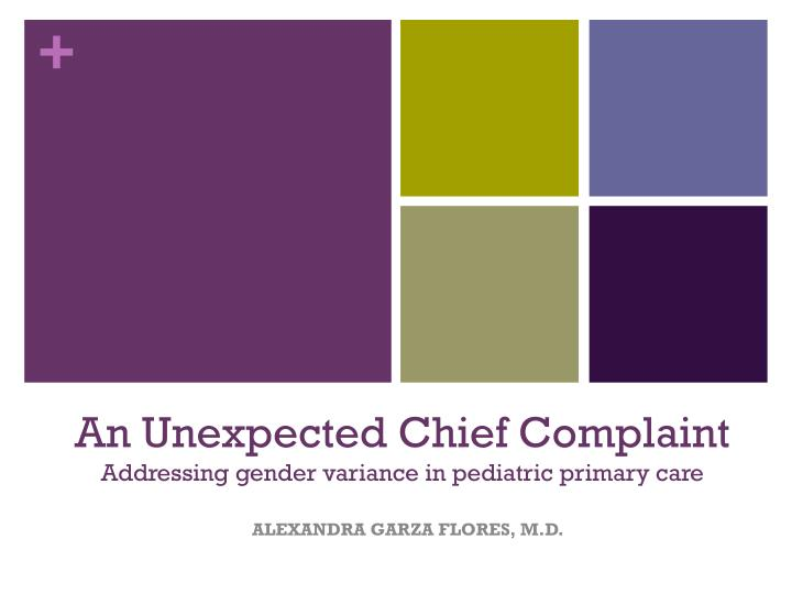 an unexpected chief complaint addressing gender variance in pediatric primary care n.