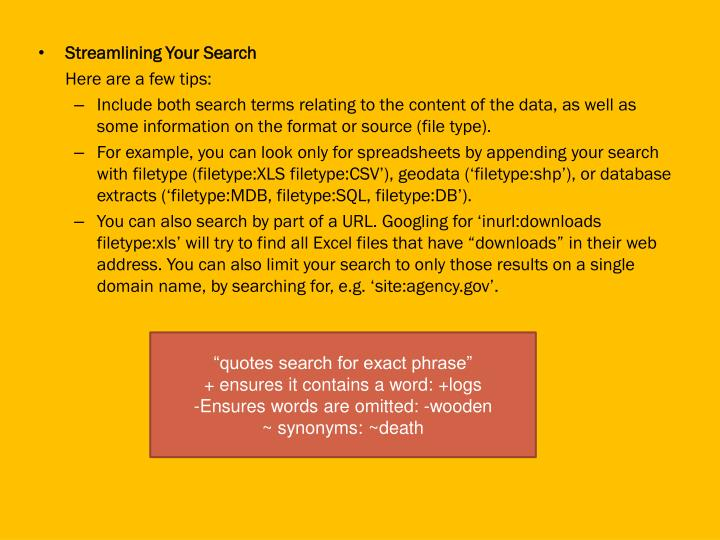 Streamlining Your Search