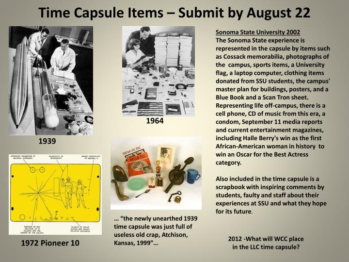 time capsule items submit by august 22