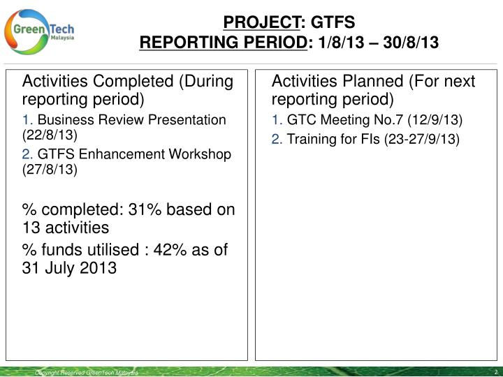 Project gtfs reporting period 1 8 13 30 8 131