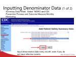 inputting denominator data 1 of 2