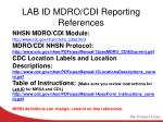 lab id mdro cdi reporting references