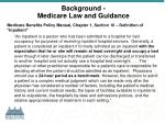 background medicare law and guidance