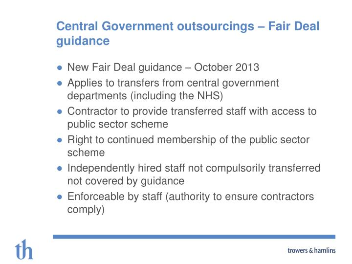 Central Government outsourcings – Fair Deal guidance