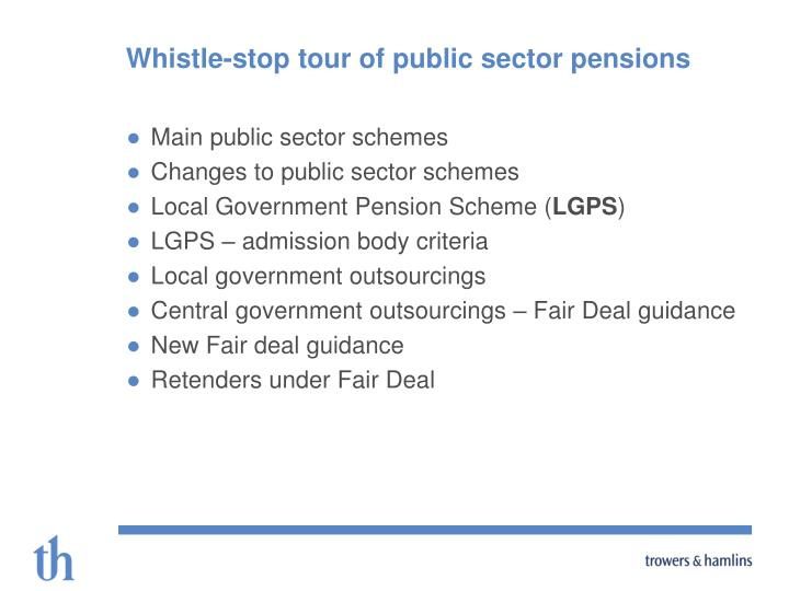 Whistle stop tour of public sector pensions