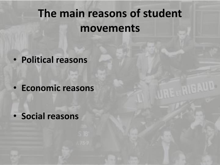 The main reasons of student movements