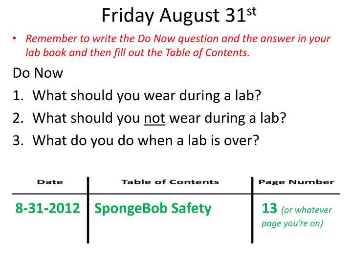 Friday August 31