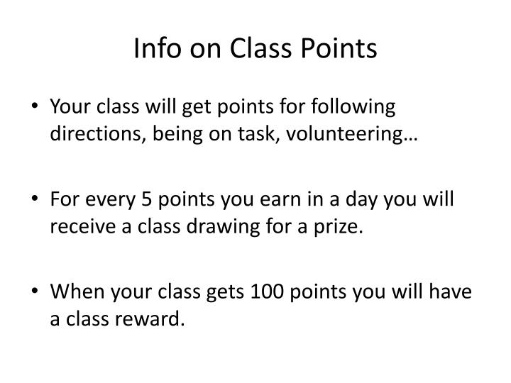 Info on Class Points