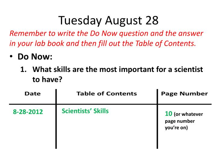 Tuesday August 28