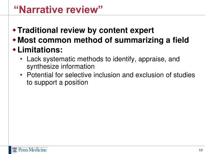 """Narrative review"""