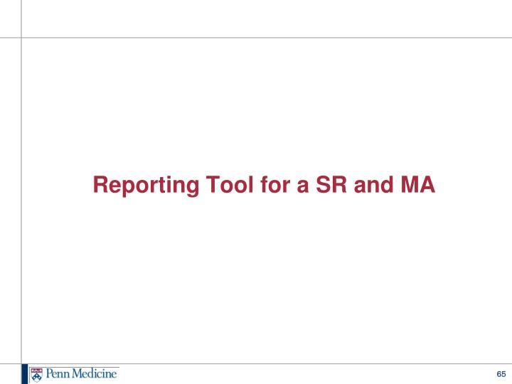 Reporting Tool for a SR and MA