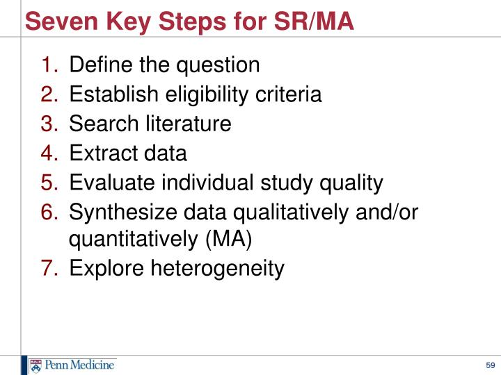 Seven Key Steps for SR/MA
