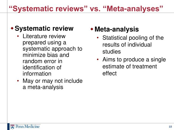 """Systematic reviews"" vs. ""Meta-analyses"""
