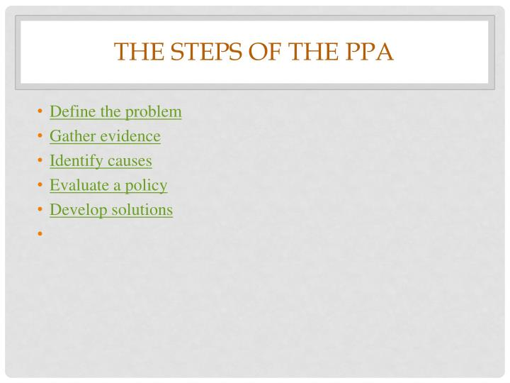 The steps of the ppa