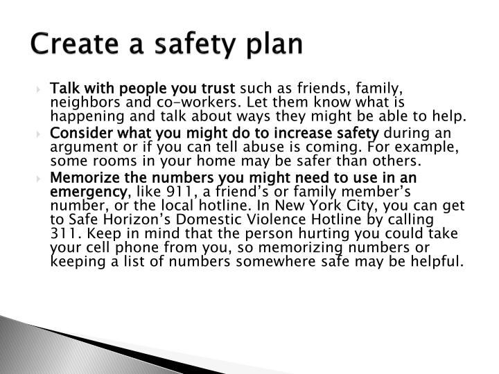 Create a safety plan