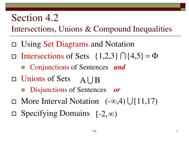 section 4 2 intersections unions compound inequalities n.