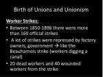 birth of unions and unionism5