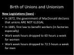 birth of unions and unionism6