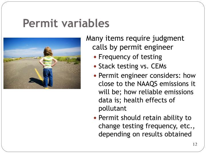 Permit variables