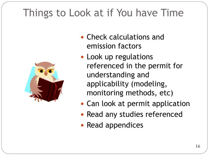 Things to Look at if You