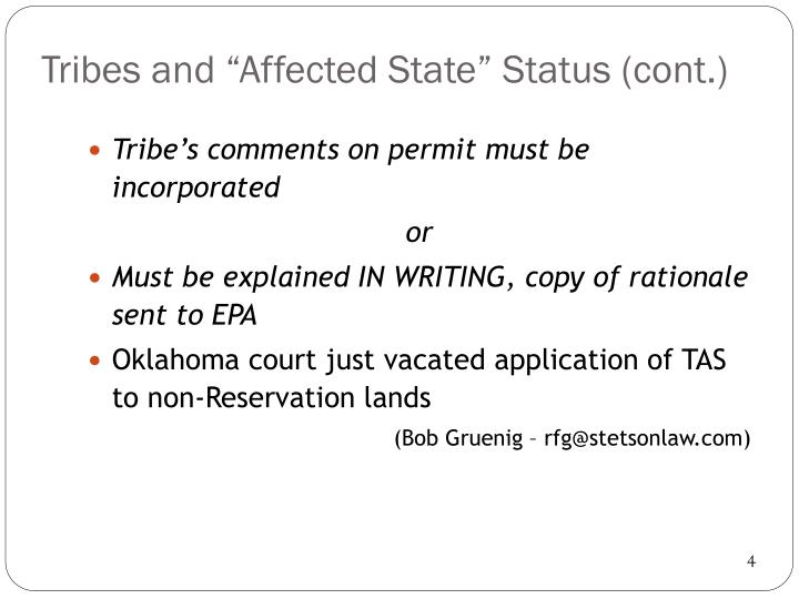 """Tribes and """"Affected State"""""""