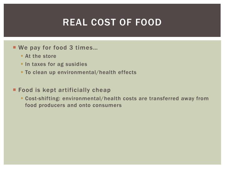 Real cost of food
