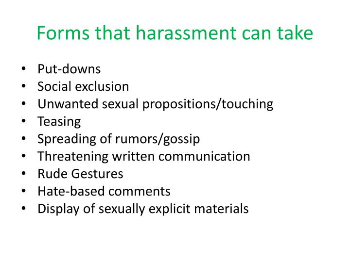 Forms that harassment can take
