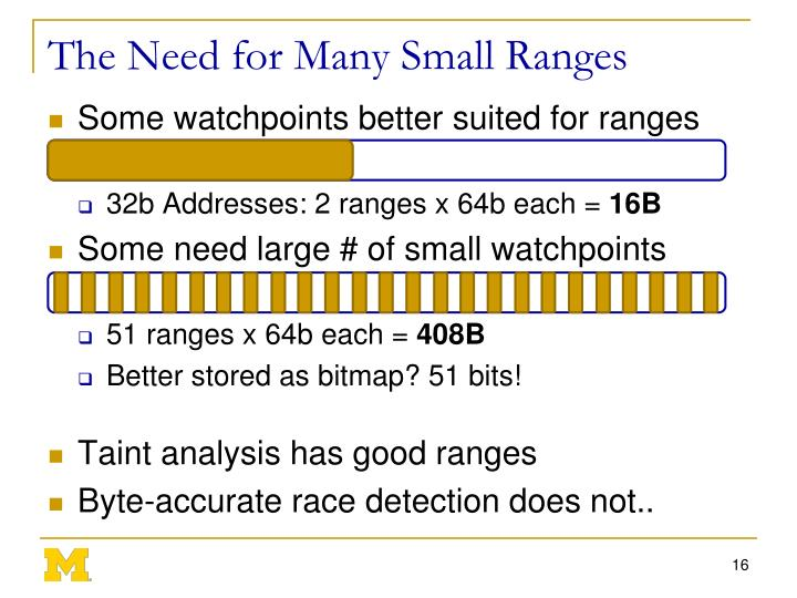The Need for Many Small Ranges