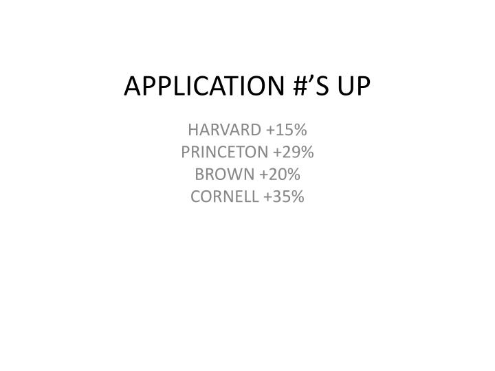 APPLICATION #'S UP