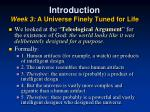 introduction week 3 a universe finely tuned for life