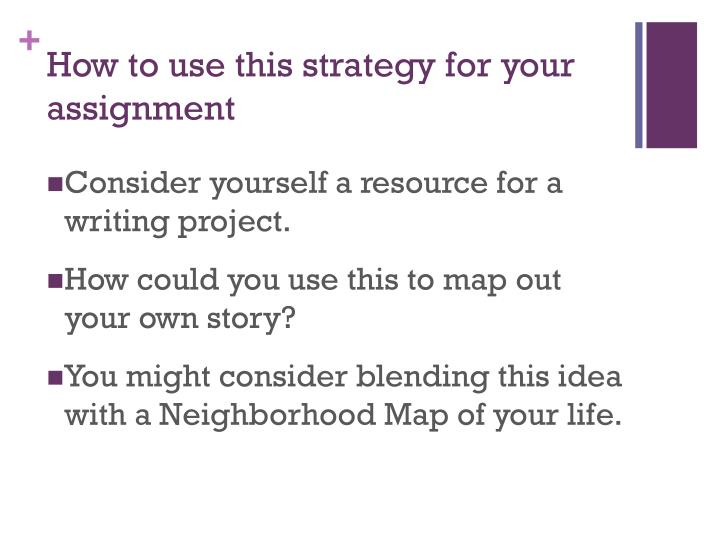 How to use this strategy for your assignment