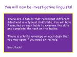 you will now be investigative linguists
