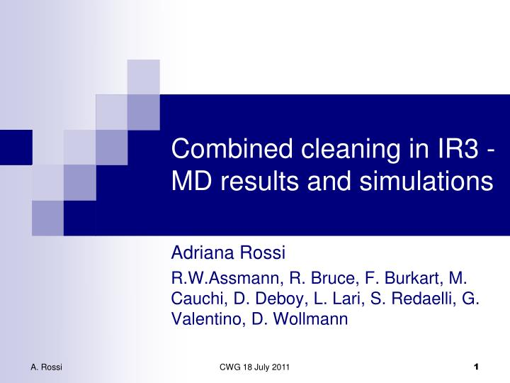 combined cleaning in ir3 md results and simulations n.