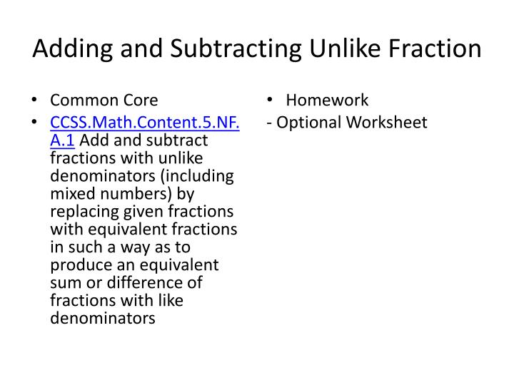 adding and subtracting unlike fraction n.