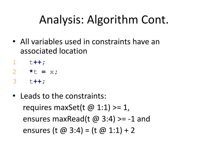 Analysis: Algorithm Cont.