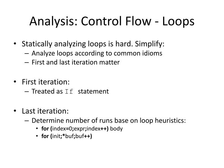 Analysis: Control Flow - Loops