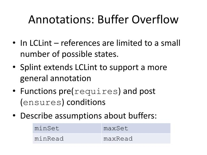 Annotations: Buffer Overflow