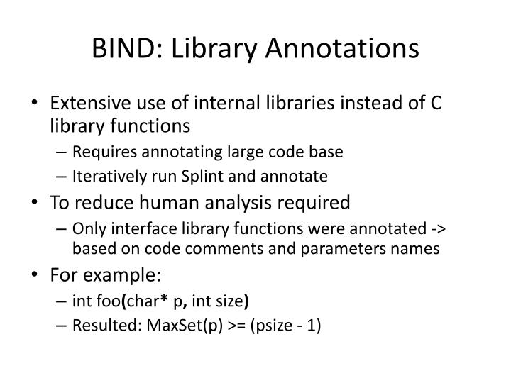 BIND: Library Annotations