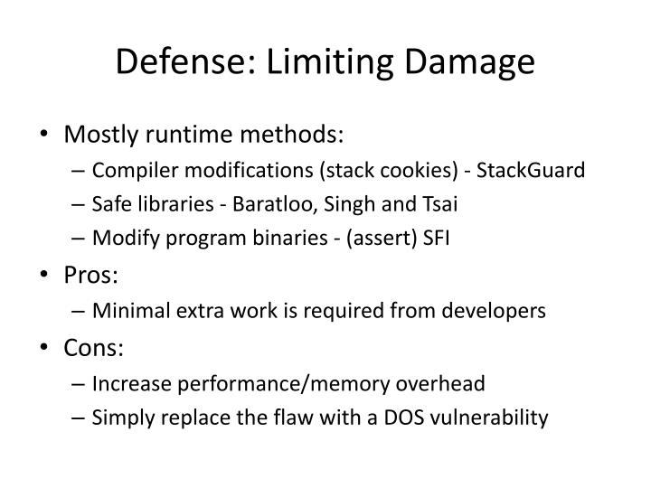 Defense: Limiting Damage