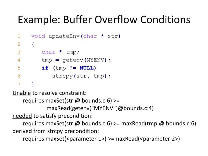 Example: Buffer Overflow Conditions