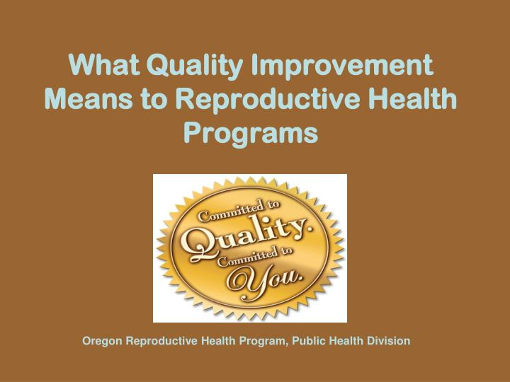 What quality improvement means to reproductive health programs