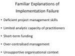 familiar explanations of implementation failure