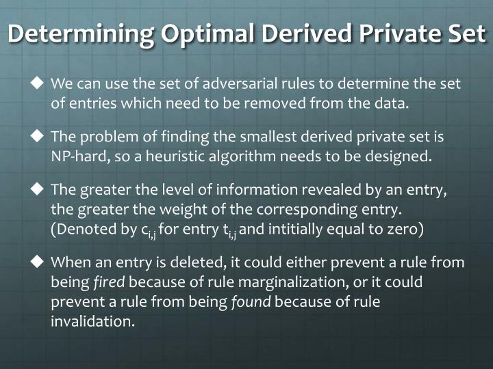 Determining Optimal Derived Private Set