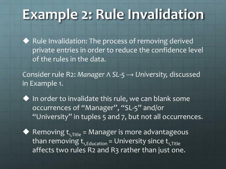 Example 2: Rule Invalidation